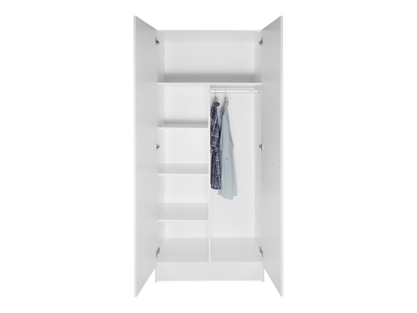 2 Door Tall Wardrobe Cabinet With Shelves Cabjaks