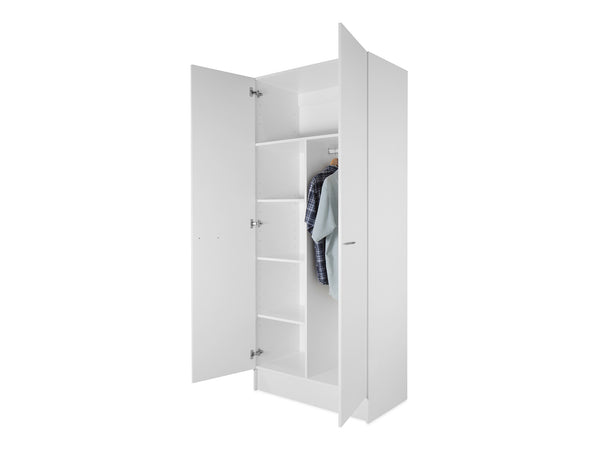 2 Door Tall Wardrobe Cabinet with Shelves