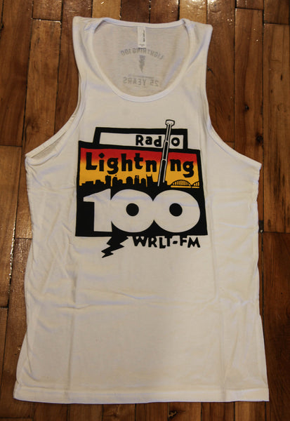 Boombox Throwback Unisex Tank Top (White)