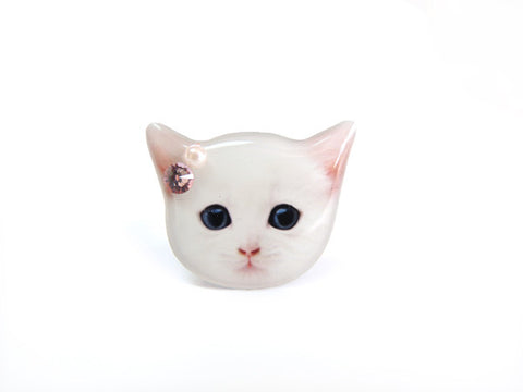 White Shorthair Cat Kitten Ring