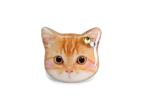 Cute Orange Cat Kitten with Blush Ring