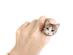 Big Eye Tabby Cat Kitten Ring