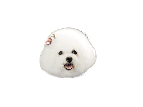 White Bichon Frise Puppy Dog Ring