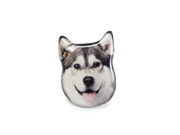 Grey and White Husky Dog Ring