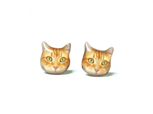 Orange Cat - Bob Stud Earrings