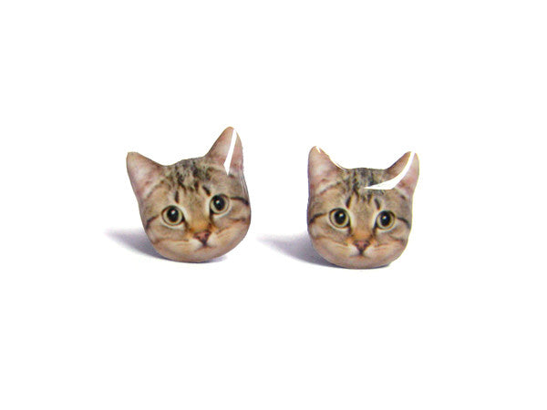 Cute Brown Short Hair Tabby Cat Kitten Stud Earrings