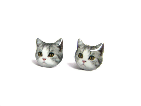 Cute Grey and White Cat Kitten Stud Earrings