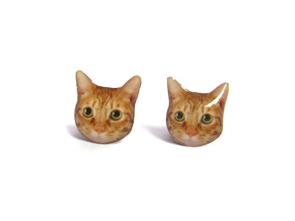 Orange White Cat Kitten Stud Earrings