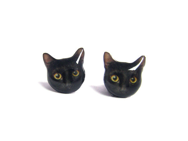Shorthaired Black Cat Kitten Stud Earrings