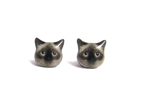 Birman Cat Kitten Stud Earrings