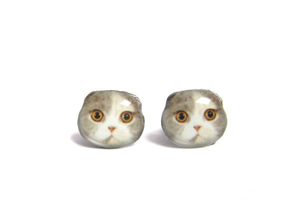 Tricolor Fold Ear  Cat Kitten Stud Earrings