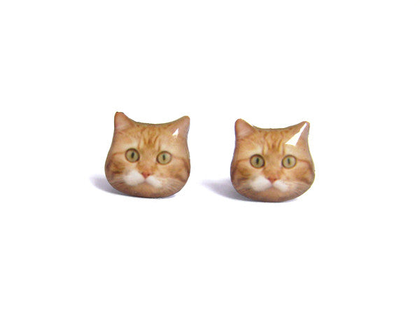 Super Fat Orange Cat Kitten Stud Earrings