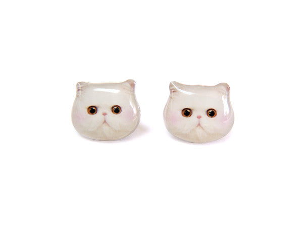 White Persian Cat Kitten with Red Blush Stud Earrings