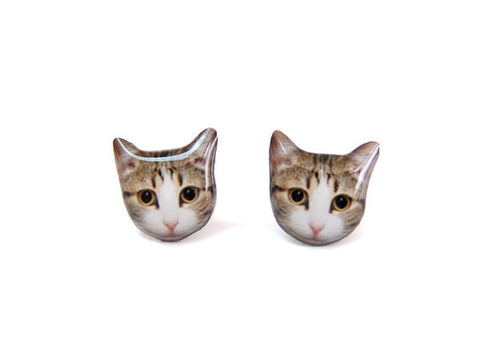 Big Eyes Tabby Cat Kitten Stud Earrings