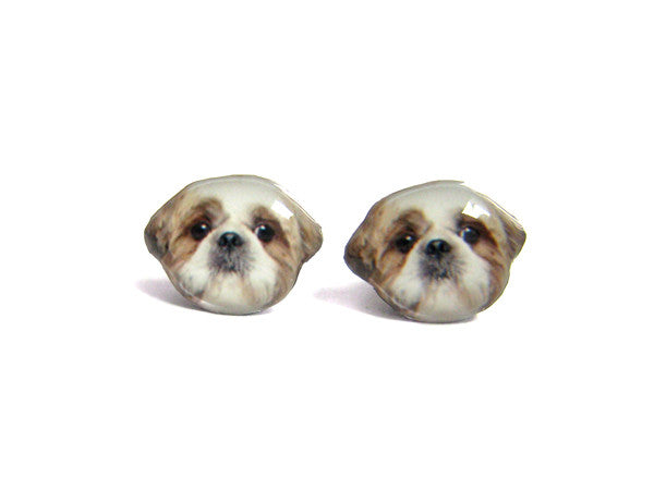 Brown and White Shih Tzu Dog Stud Earrings