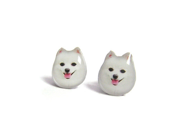 White Pomeranian Dog Stud Earrings