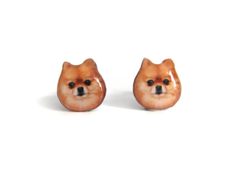 Brown Pomeranian Dog Stud Earrings