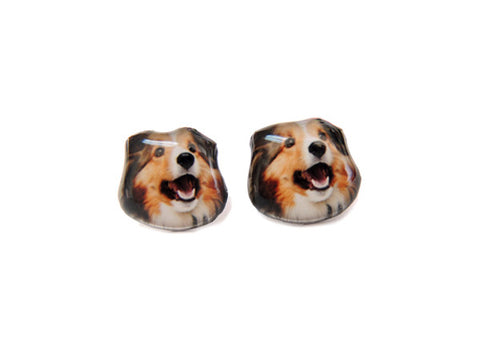 Collie Dog Stud Earrings