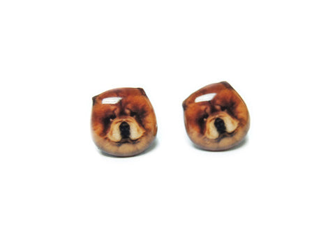 Cute Brown Chow Chow Dog Stud Earrings