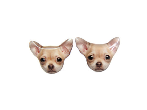 Brown Chihuahua Dog Stud Earrings