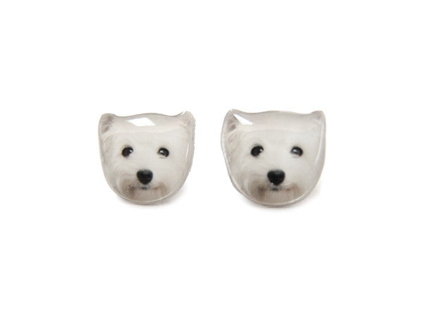 West Highland White Terrier Dog Stud Earrings