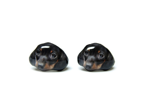 Black Shorthaired Dachshund Puppy Dog Stud Earrings