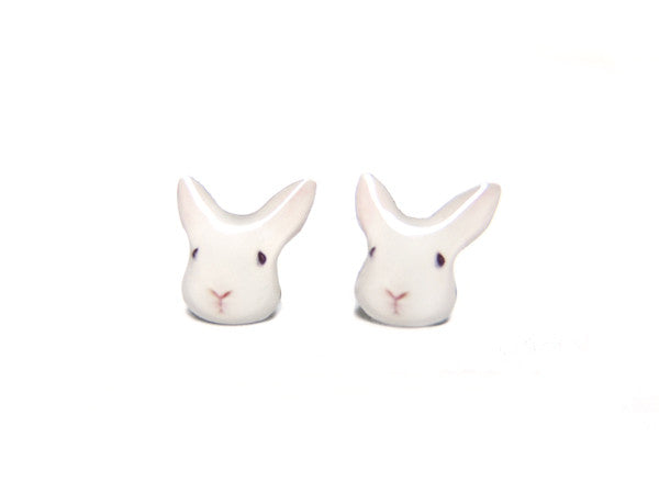 Little White Bunny Rabbit Stud Earrings