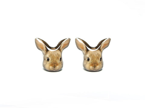 Brown Bunny Rabbit Stud Earrings