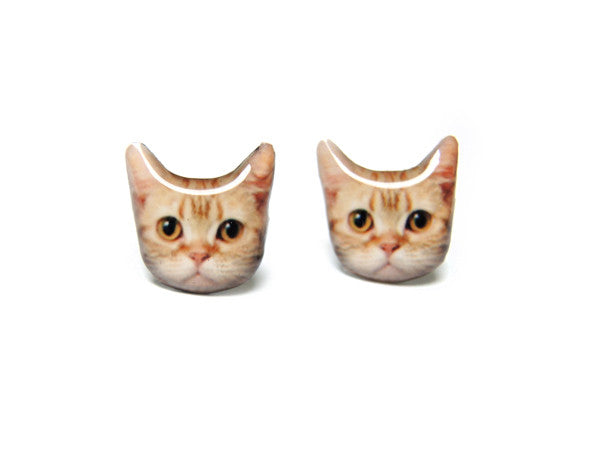 Redish Brown Short Hair Cat Kitten Stud Earrings