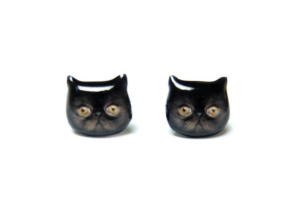 Cute Black Persian Cat Kitten Stud Earrings