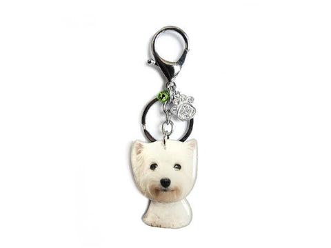 West Highland White Terrier Puppy Dog Shaking Head Keychain / Bag Charm