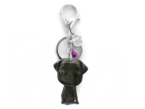 Black Pug Shaking Head Keychain / Bag Charm