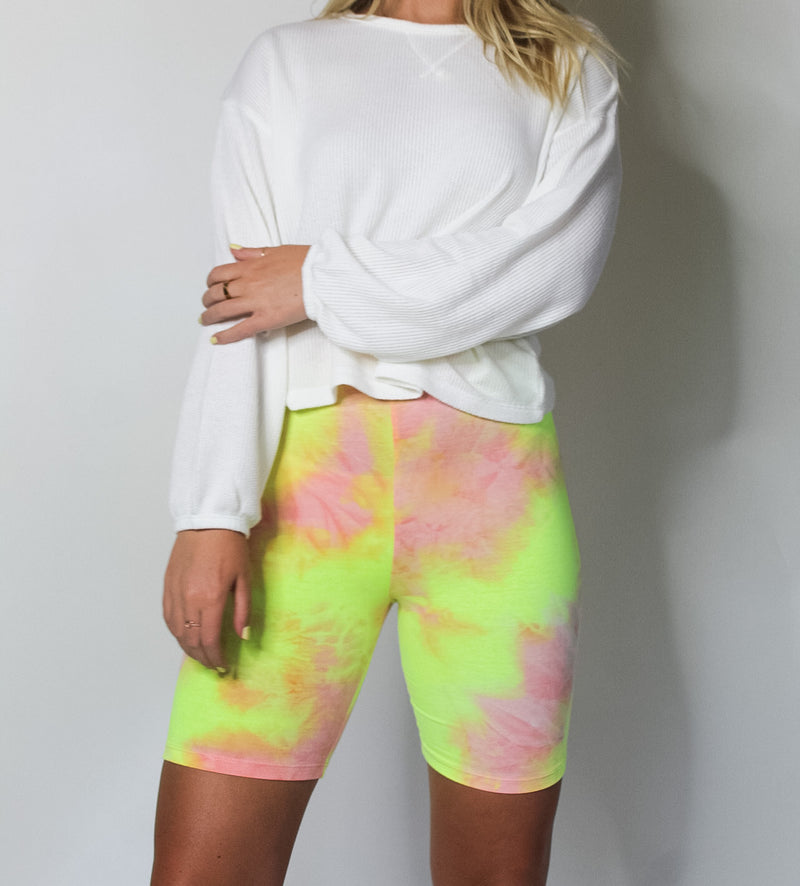 Tie Dye Biker Short- Pink & Yellow