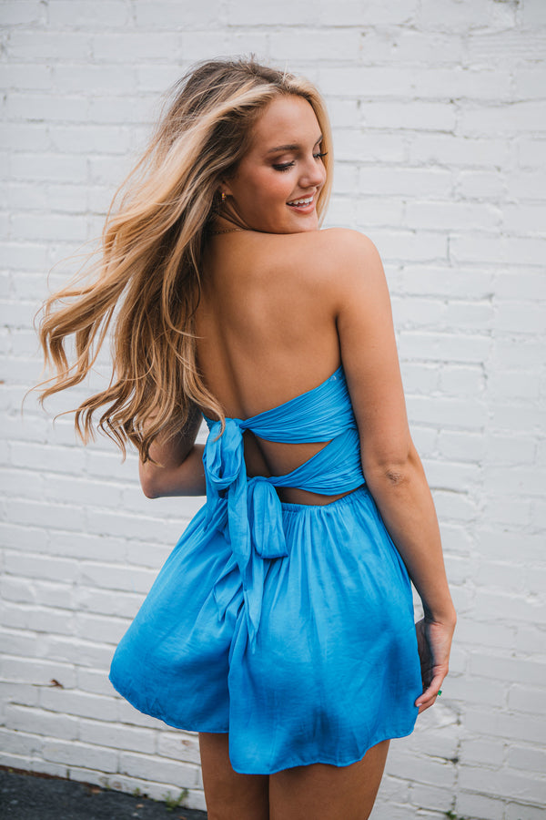 Savannah Silk Romper- Ocean Blue