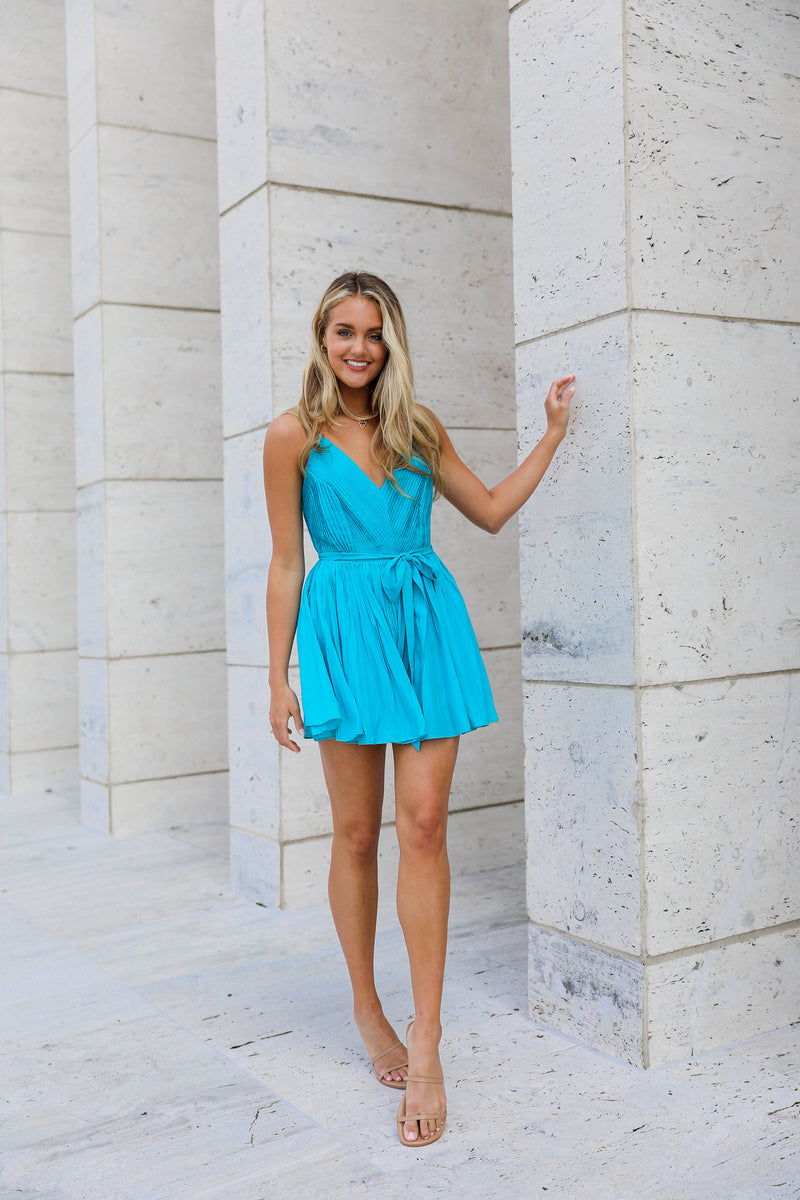 River Pleated Cross Back Romper - Blue