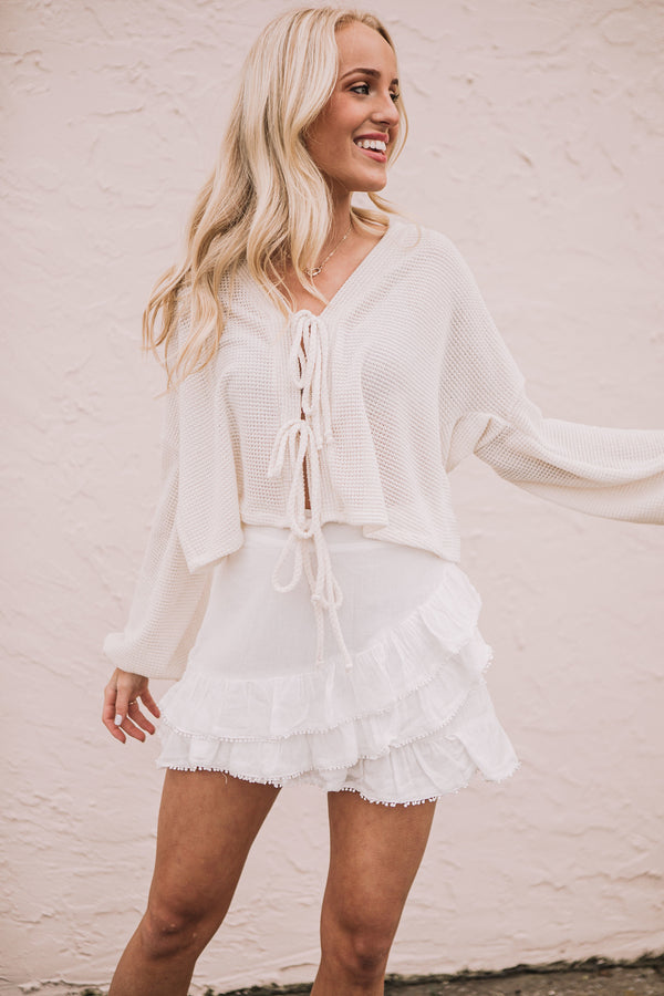 Dot Trimmed Mini Skirt - White