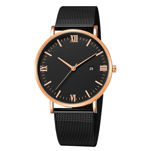 Roman Minimalist Watch (Black & Rose Gold)