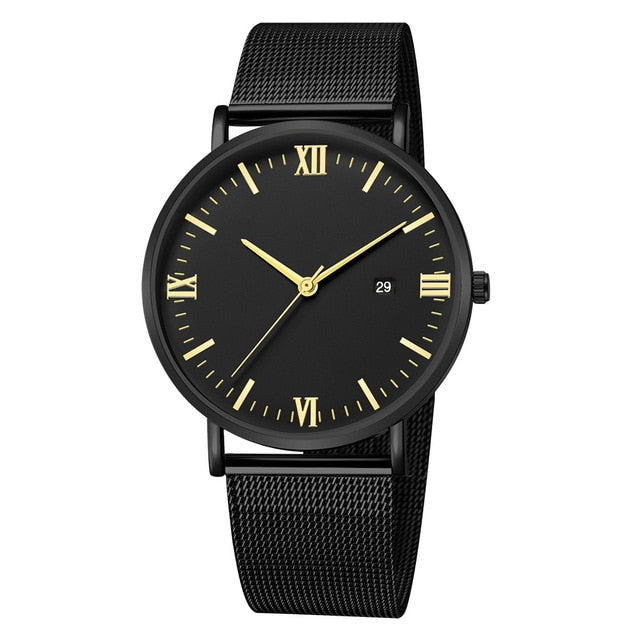 Roman Minimalist Watch (Total Black & Gold)