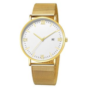 Roman Minimalist Watch (Gold & White)