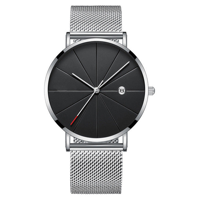 Modern Minimalist Watch (Silver & Black)