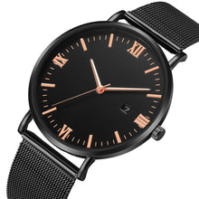 Load image into Gallery viewer, Roman Minimalist Watch (Total Black & Rose Gold)