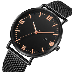 Roman Minimalist Watch (Total Black & Rose Gold)