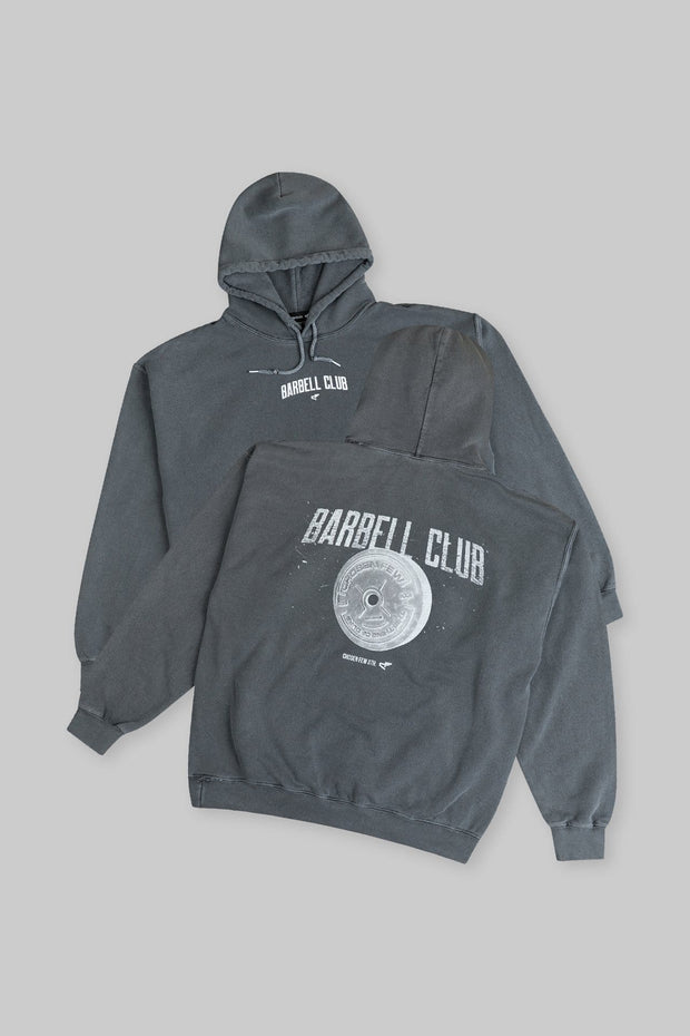 Retro Barbell Club Hoodie Charcoal Black