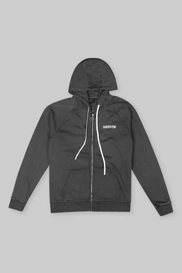 BRANDED ZIP HOODIE WASHED BLACK