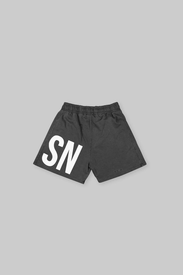 BRANDED SHORT WASHED BLACK
