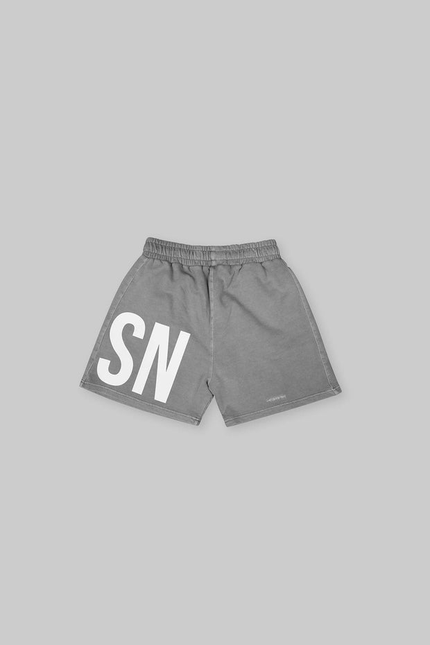 BRANDED SHORT WASHED GREY