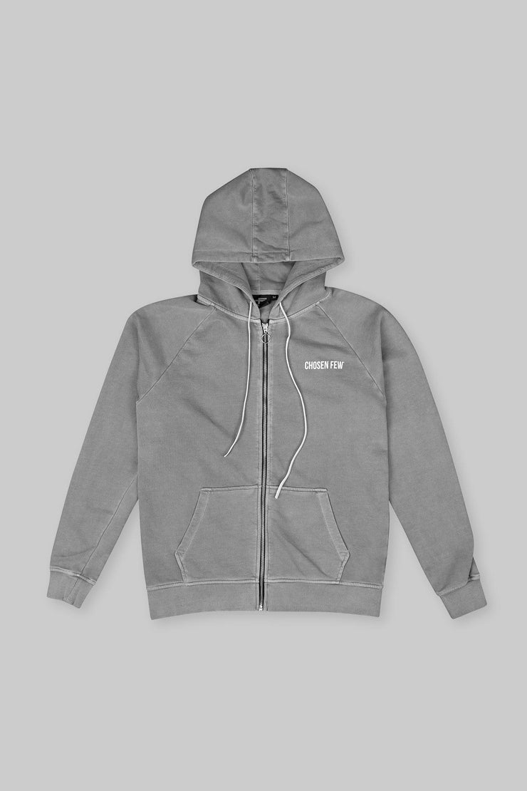 BRANDED ZIP HOODIE WASHED GREY