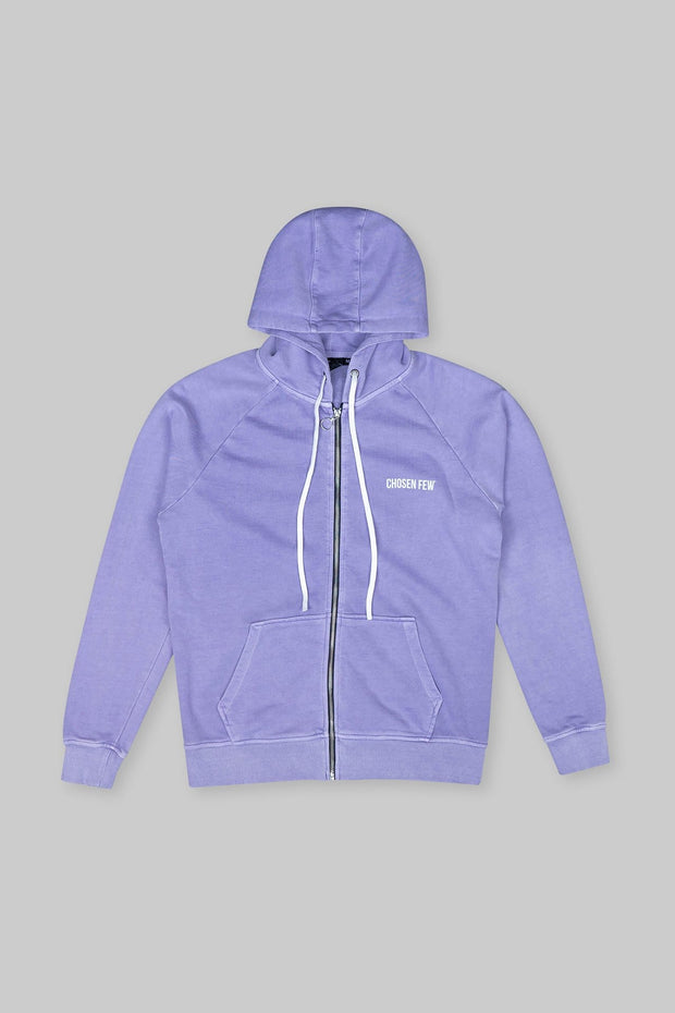 BRANDED ZIP HOODIE WASHED PURPLE