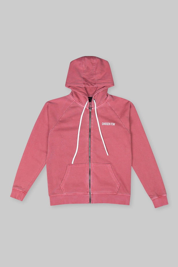 BRANDED ZIP HOODIE WASHED RED