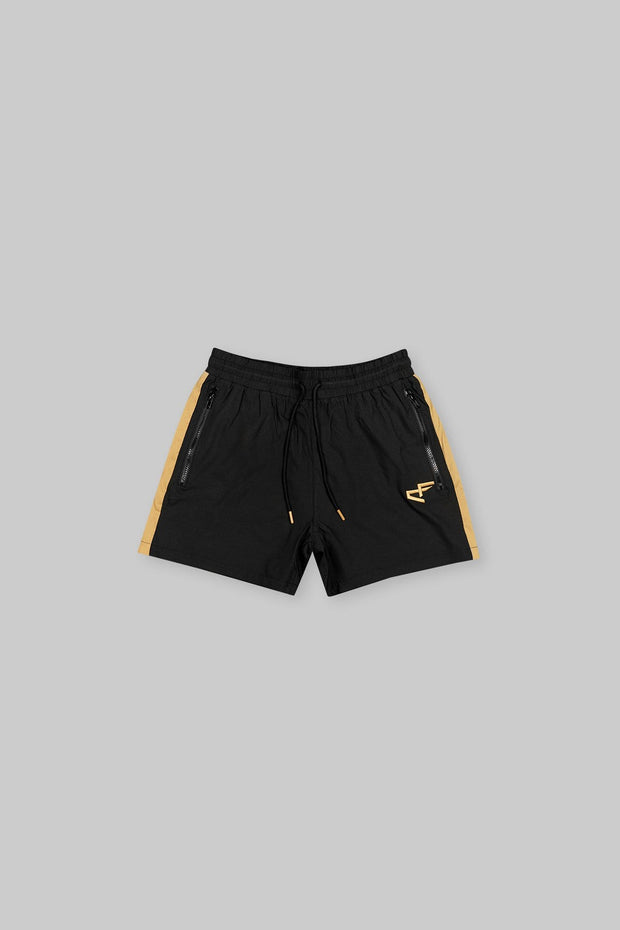 CAPO Panelled Shell Shorts Gold
